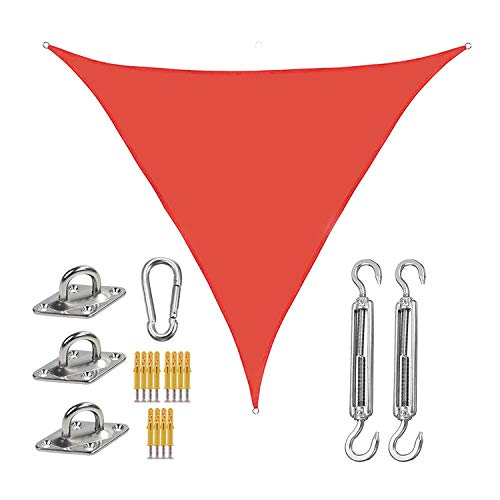 WlP Triangle Sun Shade Sail Canopy Toldo Cubierta de Tela para Parasol Cubierta de Tela con 3 Cuerdas Kit de fijación Bloque UV Impermeable para Patio Exterior Jardín Patio Trasero 2 x 2 x 2M