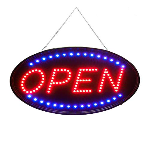 """SK Depot Open Sign Premium Products 19""""x10"""" LED Open Sign Electronic Billboard Bright Advertising Board Flashing Window Display Sign with Motion -""""Open"""" (Red/Blue) - Two Modes(Oval 19x10 inch)"""