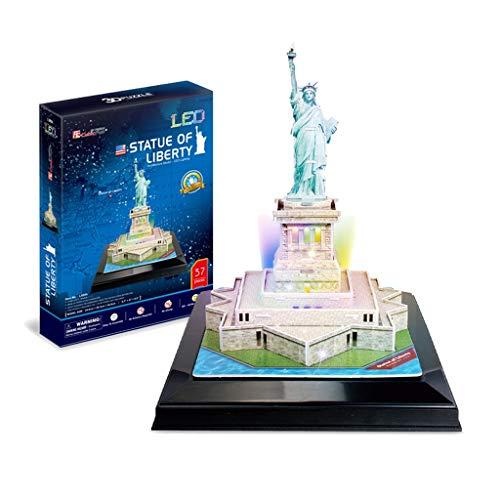 HXF- Puzzle 3D Tridimensional Rompecabezas DIY Creativo Regalo Edificio Famoso Manual de Modelo del Rompecabezas Desarrollo Creatividad Intelectual Interactivo (Color : Statue of Liberty)