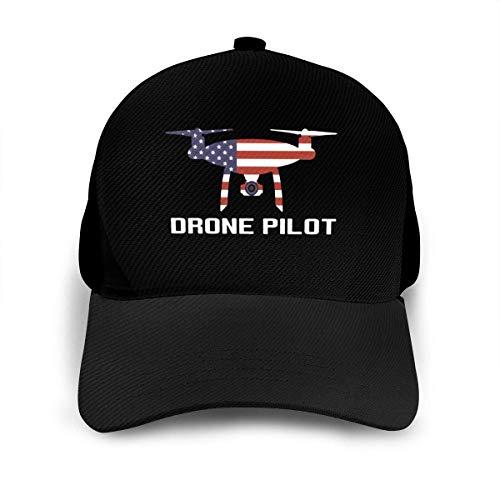 USA Flagge Drohne Pilot Unisex verstellbare Baseballkappe Mode Hip Hop Kappen Papa Hut schwarz