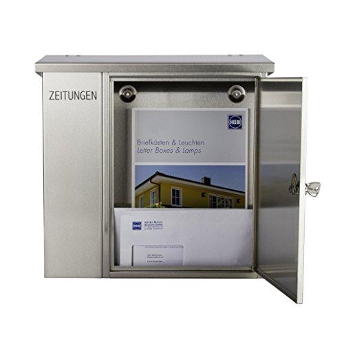Heibi - Edelstahl Briefkasten 43661 mit Zeitungsfach