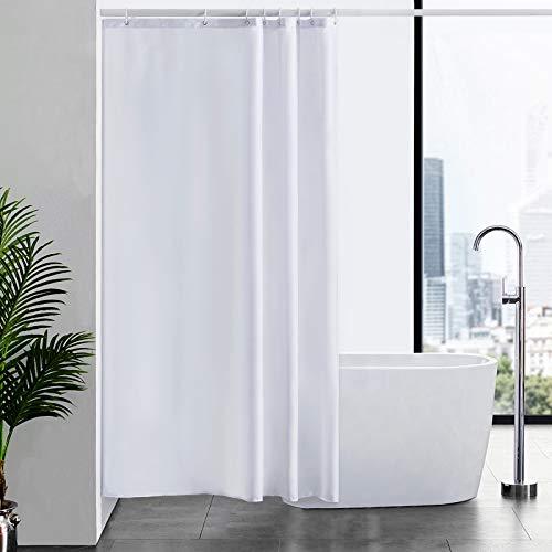 Furlinic Duschvorhang Textil Anti-schimmel Wasserdicht Waschbar Badvorhang aus Polyester Stoff Weiß 120x200cm mit 8 Duschvorhangringen.