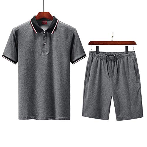 GRMO Men Tracksuit Casual 2-Piece Short Sleeve Polo Shirt and Shorts Set 4 US XL