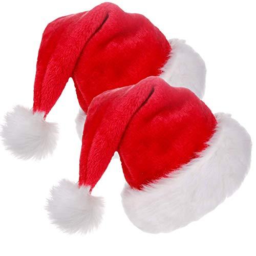 2 Gorros de Papa Noel, 2 Gorras Navideño y Sombreros de Santa Claus Tradicionales Rojos y Blanco. Accesorios de Navidad para Regalos de Festividad