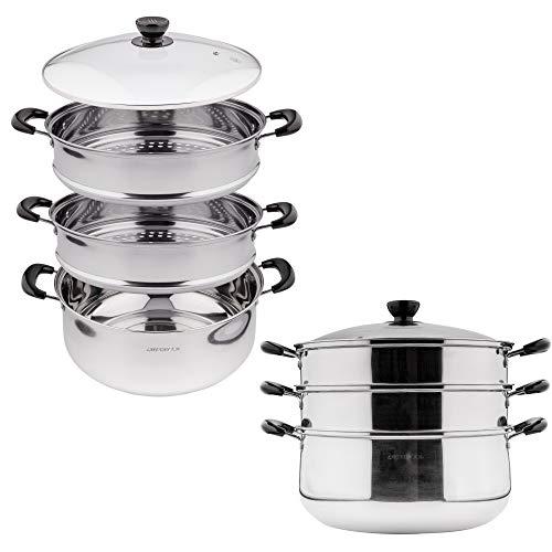 Vaporera de acero inoxidable de 3 niveles para cocinar con inserto apilable, vaporizador de alimentos, cocina al vapor de verduras, olla de cocción al vapor con tapa de cristal,...