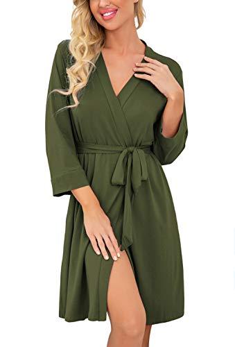 PrinStory Women Kimono Robes Short Lightweight Robe Soft Knit Sleepwear Casual Knit Bathrobe Ladies Loungewear Olive Green-Medium