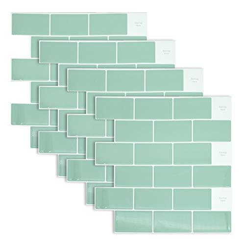 Bestine 4 azulejos de metro autoadhesivos para cocina, 30,48 x 30,48 cm, adhesivos 3D para azulejos de cocina y baño (C)