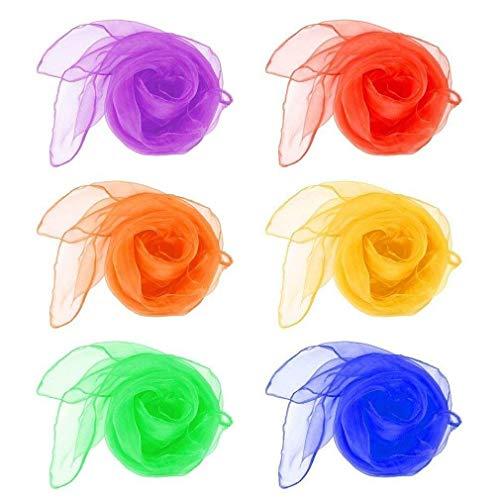 12 PCS danza de vientre de Malabares bufandas cuadradas pañuelo de colores sólidos niños danza bufanda sensorial juguete