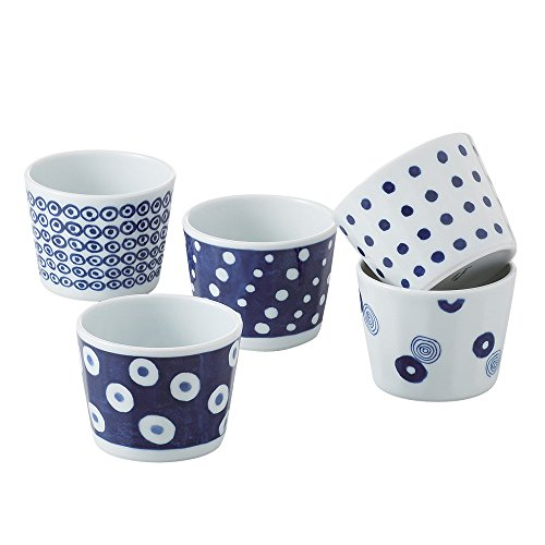 saikai Toki 13304 Japanische Keramik Hasami-yaki Ochoko Sake-Becher 200 ml – Set mit 5 Tassen – traditionelles Indigoblau Muster