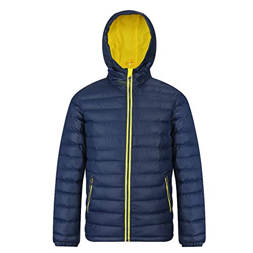 MADHERO Men's Puffer Jacket Water-Resistant Insulated Down Alternative Outerwear Coats Hooded Navy Yellow Size S