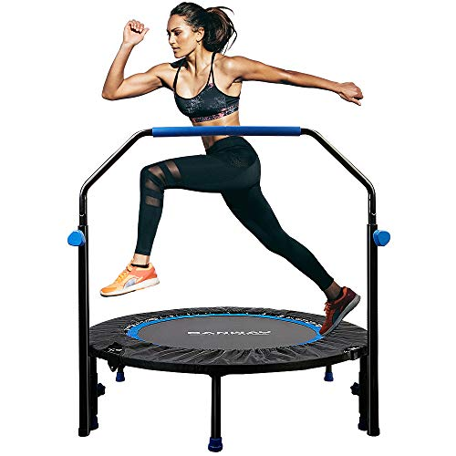 CANWAY 40'' Foldable Mini Trampoline, Fitness Rebounder Trampoline for Adults Kids with Adjustable Foam Handle Exercise Trampoline Indoor Outdoor Workout with 35pcs Springs Max Load 330lbs Blue