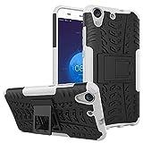 Smfu Funda Compatible Huawei Y6ii/Honor 5A/Holly 3/GW Carcasa Rugged Híbrido Resistente Absorción Anti-arañazos Funda Absorción Impactos con Pie De Apoyo Caja [con Mica 2Unidades]-Blanco