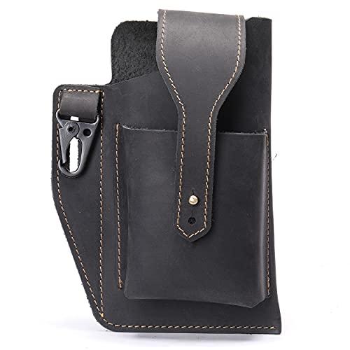 Retro Belt Waist Men's Bag, Waist Bag Genuine Leather Men Cell Phone Belt Bag , Belt Loop Multitool Sheath with Key Holder (Black)