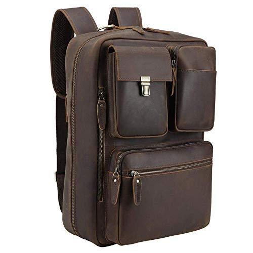 Vints Leder Cabrio Rucksack 15,6 Zoll Laptop Aktentasche Umhängetasche Travel Daypack für Männer Messenger Handtasche Laptop Aktentasche (braun)