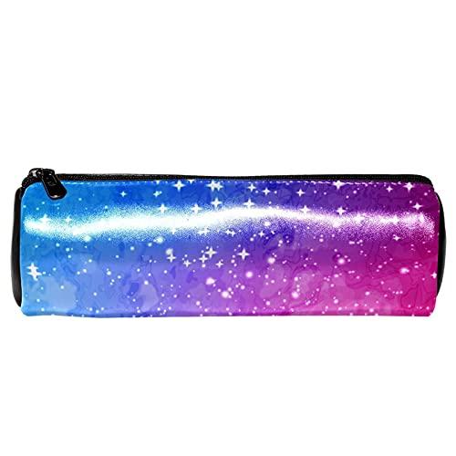 EZIOLY Estuche para lápices de piel con estrellas de luz azul y rojo