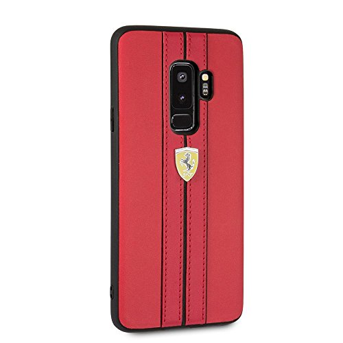 Ferrari PU Leather Case for Samsung Galaxy S9 Plus Hard Cell Phone Cover with Contrasting Cover Officially Licensed. (Red)