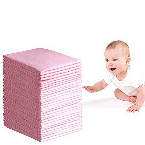 Disposable Changing Pad, 50 Pack 24×18 inch Portable Changing Table Pads Absorbency Mattress Pad Protector Pet Training and Puppy Pads Changing Pads for Baby Waterproof Incontinence Changing Mat(Pink)