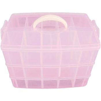 Yardwe Caja Almacenamiento 3 Niveles plástico Ajustable maletín Organizador con 30 Compartimentos (Rosa): Amazon.es: Hogar