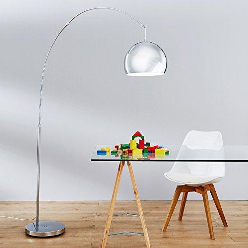 Lounge - Lámpara de pie (altura: 2 m), diseño de arco, color cromado