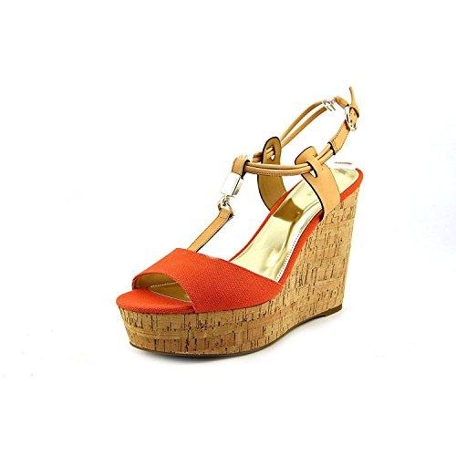 COACH Women's Linden Platform Wedge Sandals, Papaya/Natural, Size 8.5