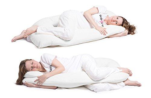 Schwangerschaftskissen, Seitenschläferkissen mit Öko-Tex Standard 100 - ergonomisch geformt - stützt Rücken und Bauch, inklusive Kissenbezug aus superweicher Microfaser