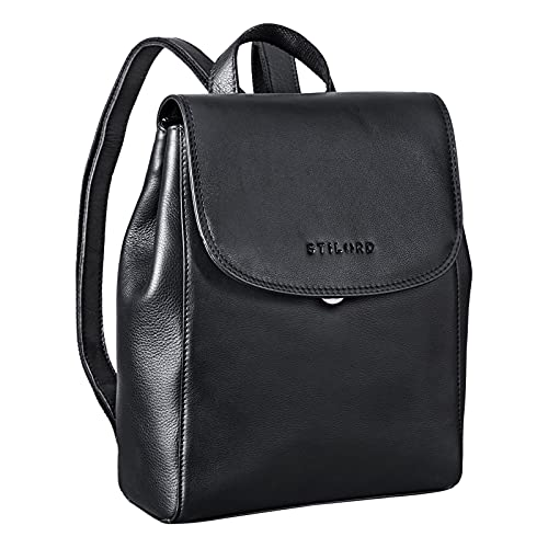 STILORD 'Hazel' Frauen Rucksack Elegant Leder Daypack Kleiner Lederrucksack Vintage Cityrucksack Rucksackhandtasche für 13,3 Zoll MacBook Echtleder, Farbe:schwarz