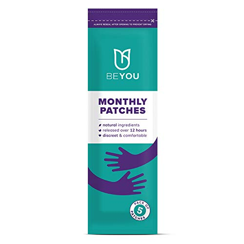 BeYou Natural Cooling Period Cramp Relief Patches, All Natural, analgesic Patches for Period Cramps, Endometriosis, PCOS, Fibroids, IBS, IBD - Contains Eucalyptus Oil and Menthol. NO Heat!