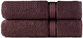 Cotton Craft - 2 Pack Ultra Soft Oversized Extra Large Bath Sheet 35x70 Chocolate - Weighs 33 Ounces - 100% Pure Ringspun Cotton - Luxurious Rayon trim - Ideal for everyday use, Easy care machine wash
