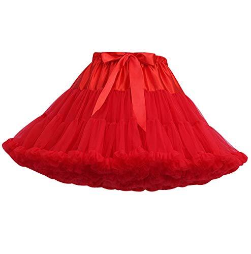Tutu Femme Jupe Tulle Bouffante Adulte Courte Jupon sous Robe Mariage Court Jupes Tulles Deguisement Tutu de Danse Princesse Tutu Ballet Classique Pettiskirt Petticoat Soiree Magnifique Rouge