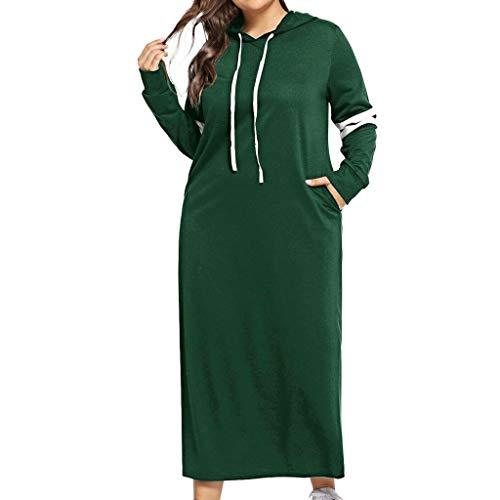 URIBAKY Damen Hoodie Sweatshirt Lang Langarm Kapuze Freizeitkleider Lang,Große Größe Longpullover Kapuzenpullover Kontrast Striped Side Kordelzug Taschen Kleid
