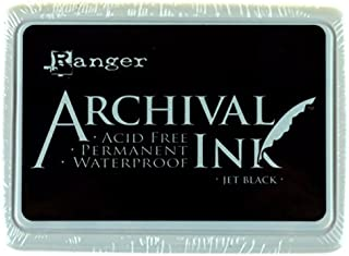 Ranger Archival Ink Pad,Jet Black – Permanent,Waterproof,Acid-Free,Non-Toxic–Won't Bleed or Smudge–Provides Vivid and Crisp Stamping Results–Air Dry on Matte and Heat Set on Glossy Surfaces (Original)