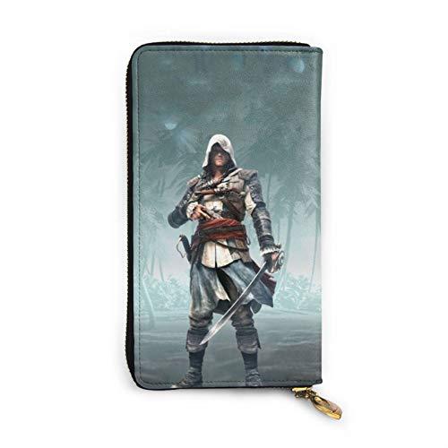 Assassin's Creed Ezio Auditore - Cartera de piel con cremallera para muñeca con múltiples tarjetas para teléfono móvil, tarjeta de crédito, moneda, bolsa de almacenamiento para hombres y mujeres