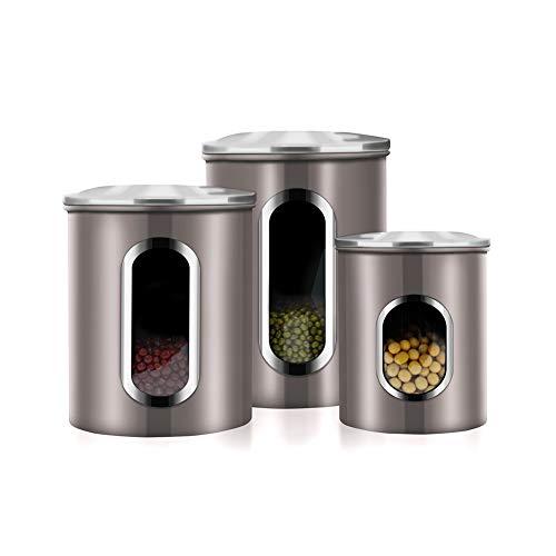 Vorratsdosen 3er Set Küchenkanister mit Fingerabdruckschutz,Transparentem Sichtfenster, Lebensmittel Aufbewahrungsbehälter,deckel aus Edelstahl Trockenfrüchten Getreide Schüttdose Farbe: Sandgrau