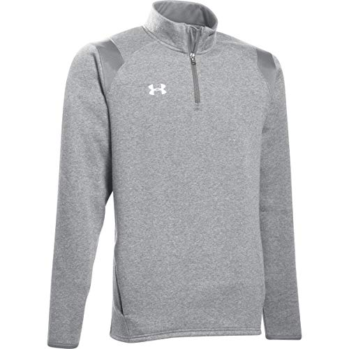 Under Armour Men's UA Hustle Fleece 1/4 Zip (Medium, True Gray Heather-Black)