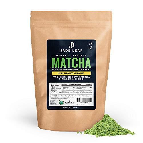 Jade Leaf Organic Matcha Green Tea Powder - Authentic Japanese Origin - Premium Second Harvest Culinary Grade (1 Pound)