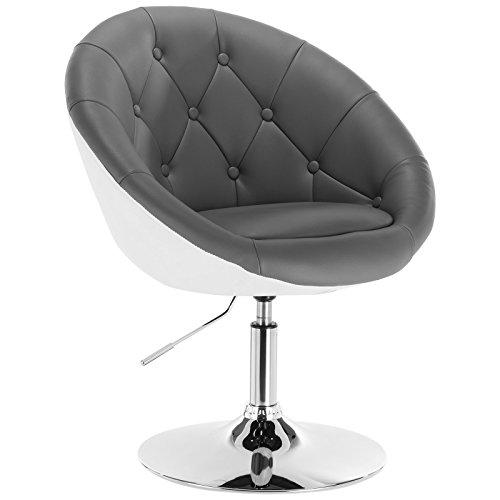 WOLTU® BH41grw-1 1 x Barsessel Loungesessel mit Armlehne Kunstleder 2 farbig Grau+Weiß