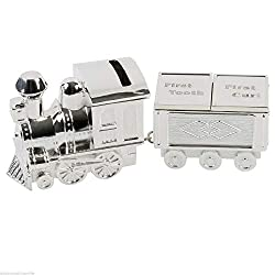 Stunning Silver plated Product. Perfect for Baby's Cristening Train Money Box with First Tooth & First Curl Trinket Carriage Can be engraved (Not Supplied) Comes Brand New & Gift Boxed