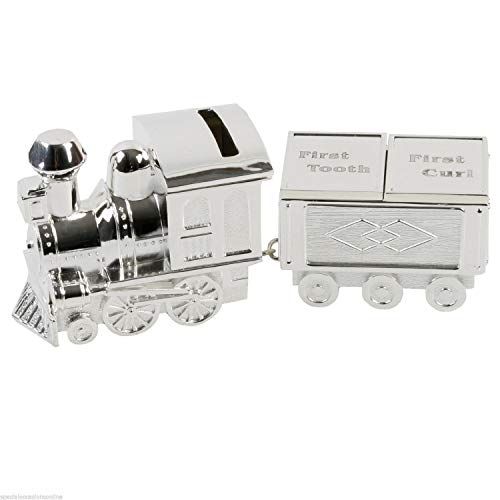 Silver Plated Train Money Box, Tooth & Curl Carriages- Baby Christening...