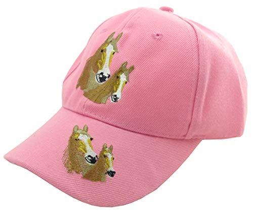 Reiter-Mütze Pferde-Cap Rosa Kinder Muetzen Pferde Cappy Retro Mützen Horse-Caps