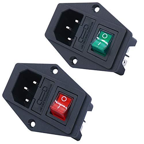 TWIDEC/2PCS 10A 250V 3 Pin módulo de entrada Plug 5A fusible interruptor macho enchufe IEC320GR