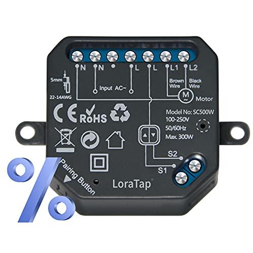 LoraTap Interruptor de Persianas WiFi Inteligente Porcentaje, Módulo Relé para Cortina Electrica, Control de Voz Alexa y Google Home, Compatible con Alexa Google, Programador 300W
