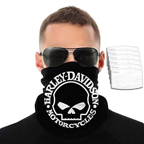 Harley Davidson Face Mask Skull Adult Reusable Windproof Neck Gaiter Bandanas for Men Women with 6 Filters