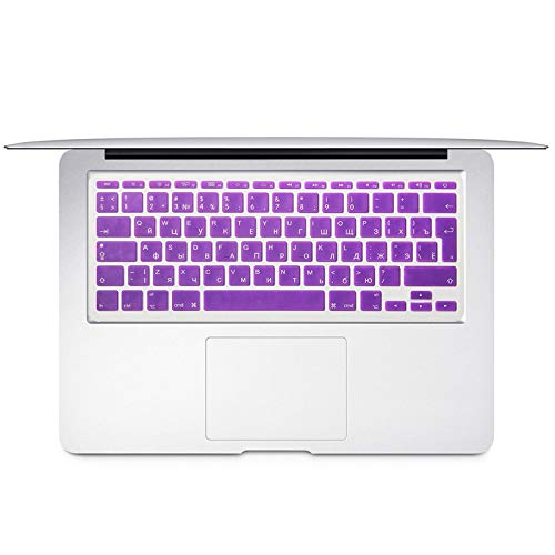 For Mac Book Air 11 inch Russian Colorful keyboard film EU Silicone Keyboard Protector Cover For air11.6 A1465 A1370 RU-purple