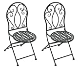 colourliving Gartenstuhl Vintage Design Dekostuhl Klappstuhl Metallstuhl Stuhl Metall Eisen Antiklook 2 Stck