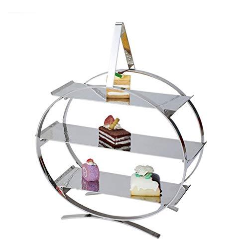 zxb-shop mesilla de Noche Creative Multi-Capa de la Torta del Acero Inoxidable del Estante del Estante Postre Buffet Comida fría del Soporte de exhibición de Frutas Decoración Plate Mesa Auxiliar