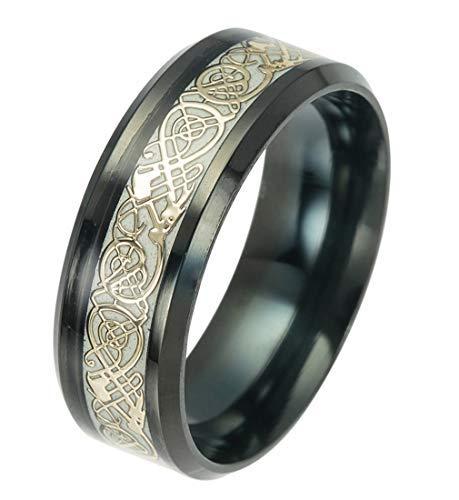 tanyoyo Luminou negro Golden Celtic Dragon anillos para hombres mujeres acero inoxidable banda de boda joyería