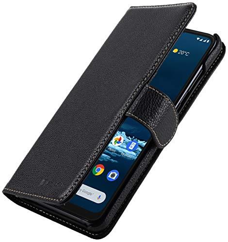 StilGut Talis kompatibel mit Nokia 5.3 Hülle aus Leder mit Kartenfach, Wallet Hülle, Lederhülle mit Fächern und Magnet-Verschluss - Schwarz