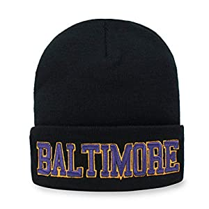 Classic Cuff Beanie Hat Black Cuffed Football Winter Skully Hat Knit Toque Cap (Baltimore)