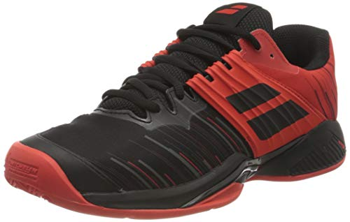 Babolat Herren Propulse Fury Clay Men Tennisschuhe, Black/Tomato Red, 46.5 EU