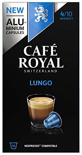 Café Royal Lungo 100 Capsules en Aluminium Compatibles avec le Système Nespresso (R)*; Intensité: 4/10; (Lot de 10X10)